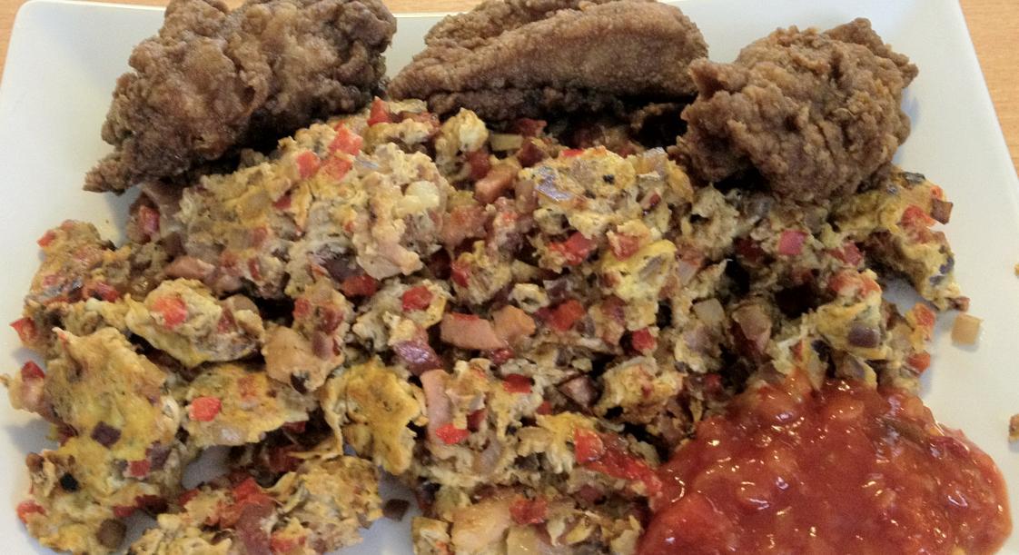 Røræg med salsa og kylling